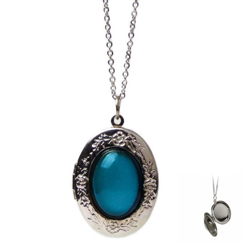 FUNIQUE Oval Openable Lockets Photo Frame Pendant Necklace  Jewelry Temperature Change Color Mood Necklace Women 2018
