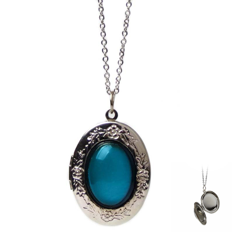 Oval Openable Lockets Photo Frame Pendant Necklace Keepsake Jewelry Temperature Change Color Mood Necklace Women 2018