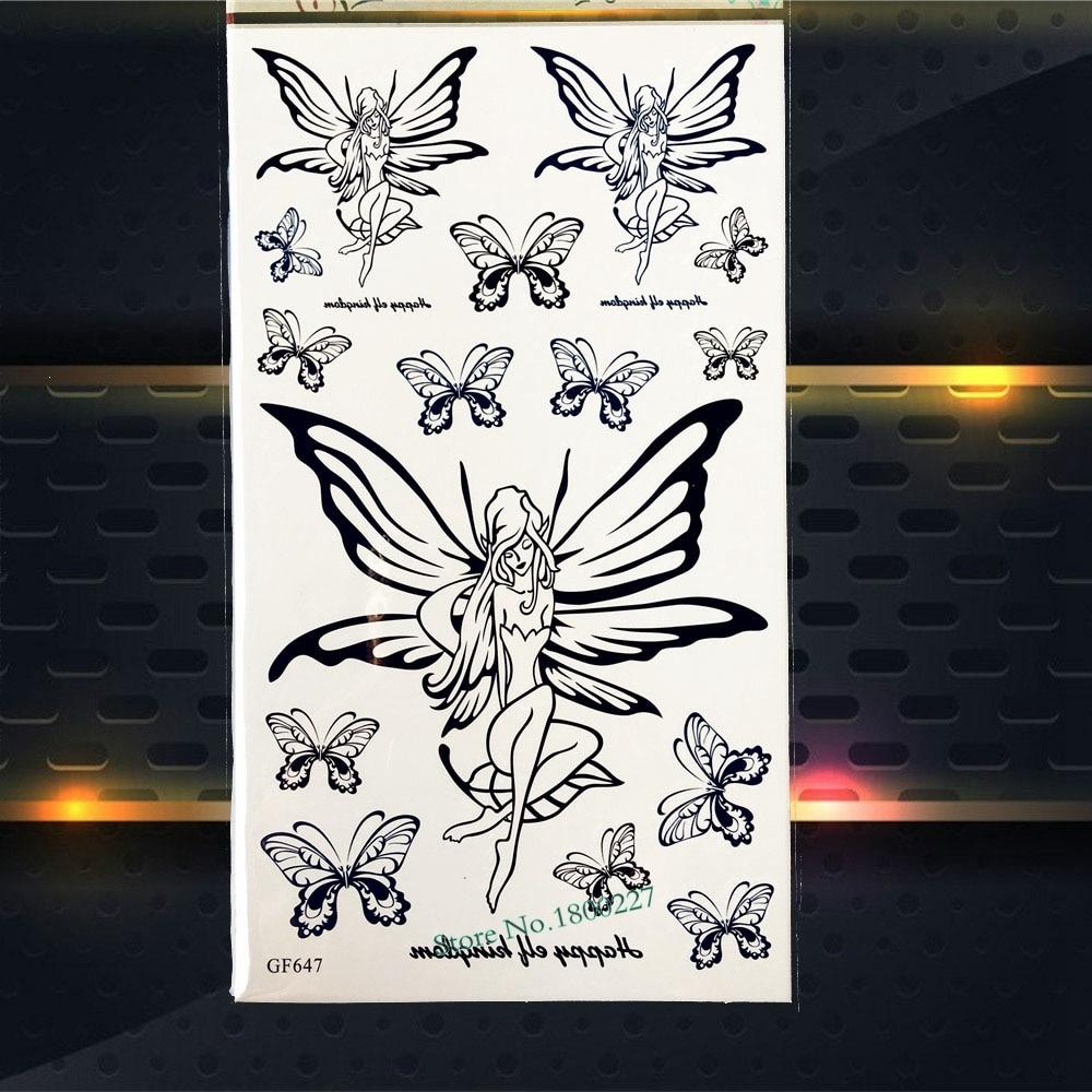 Black Fairy Butterfly Temporary Tattoo Women Fake Flash Waterproof Tattoo Henna Kids Body ARt ARm Fake Tatoo Legs Arm Shoulder