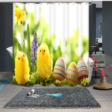 Custom size 3D Shower Curtains lovely Yellow Small Chicken Pattern Bath Curtain Waterproof Fabrics Bathroom Curtains Products