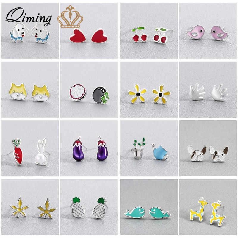 Colorful Silver Cute Earrings 2018 Fruit Bird Cat Dog Pet Women Birthday Gift Minimal Kawaii Earring Findings Korean Earrings