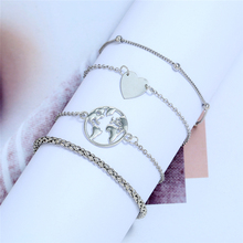 L&H 4PCS/Set New Arrival Simple Bracelets Set Lovely Beads For Girls Map/Heart Bangles Birthday Gifts