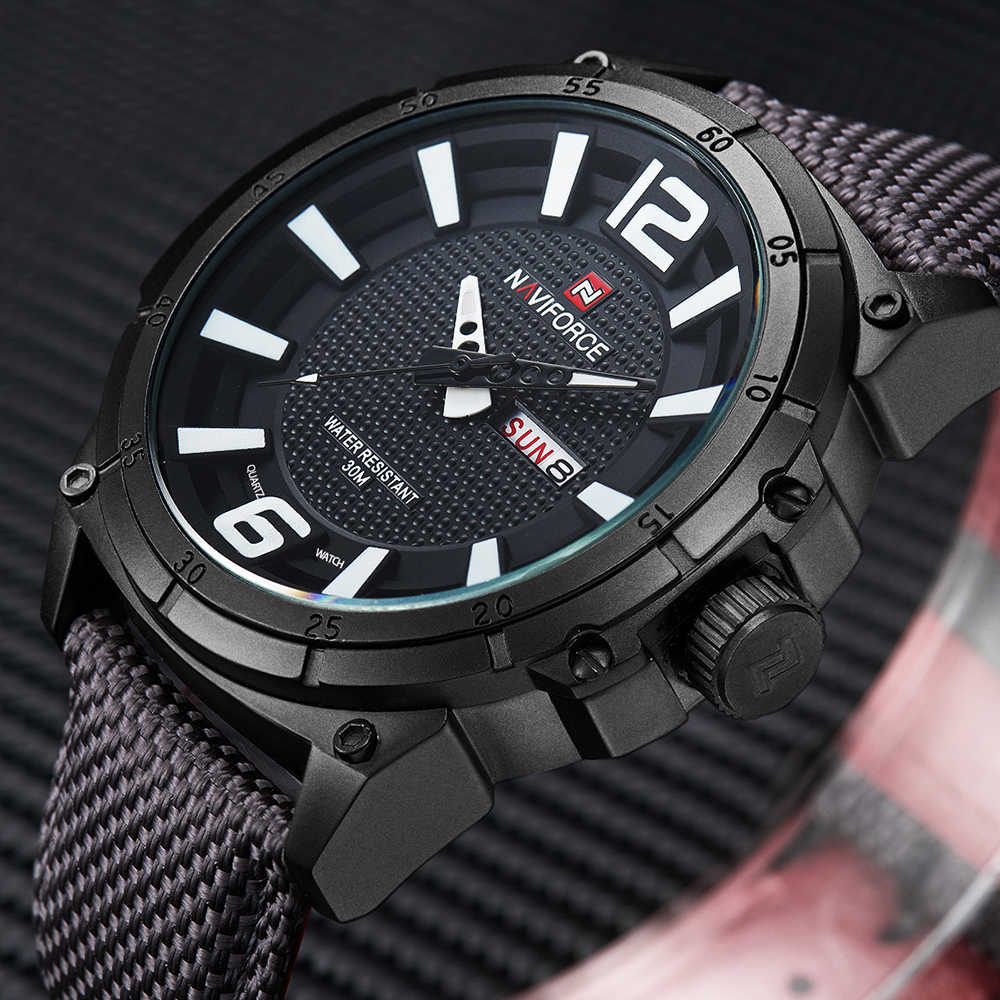 NAVIFORCE Canvas Strap Mens Watch Outdoor Fashion Sports Military Quartz Watches men Week Display Male Clock Relogio Masculino