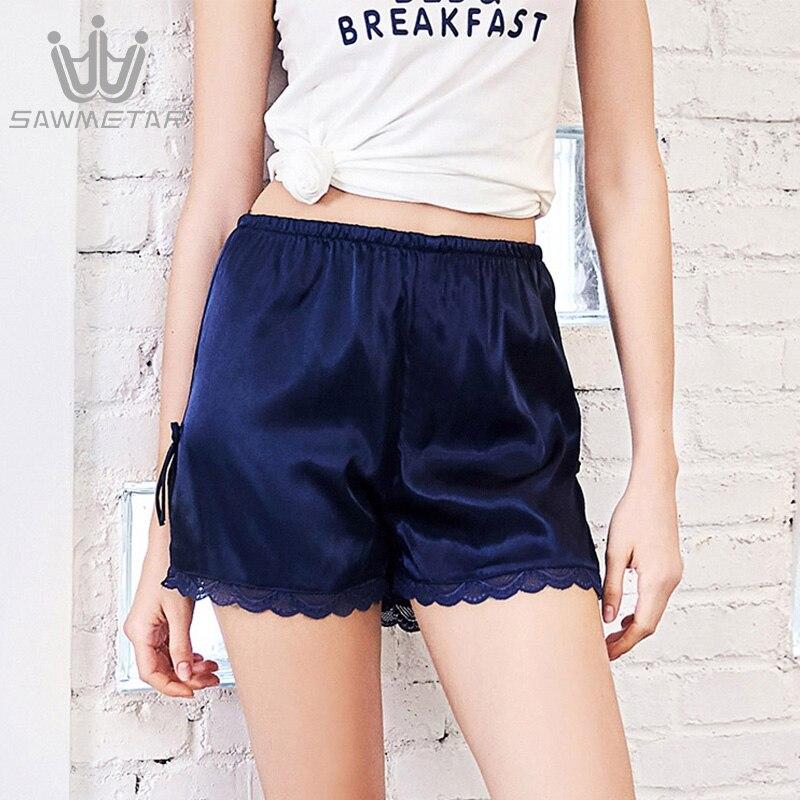 Женские шелковые пижамные шорты, летние кружевные Пижамные шорты с эластичной талией