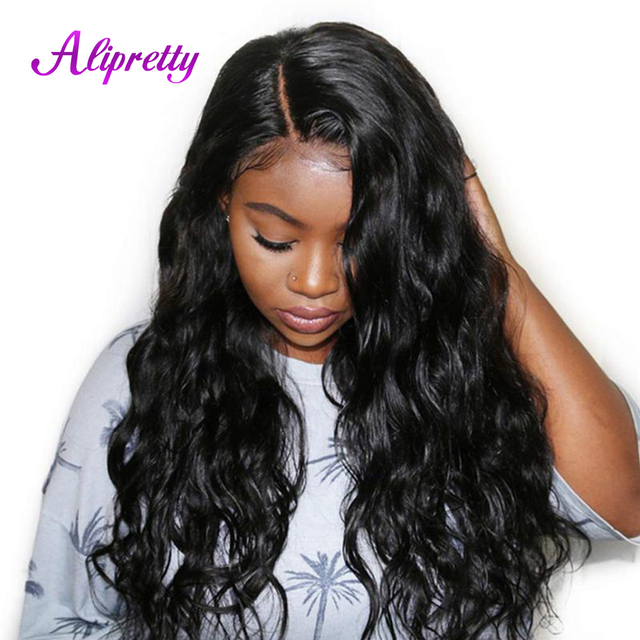 Alipretty onda del cuerpo pelucas de pelo brasileño Pre arrancado pelucas de encaje de cabello humano para las mujeres de pelucas de cabello Natural encaje con el bebé pelo