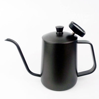 Family Accessories Stainless Steel Coffee Kettle 600ml Teflon Coating Long Mouth Spout Teapot Water Jug with Thermometer JY