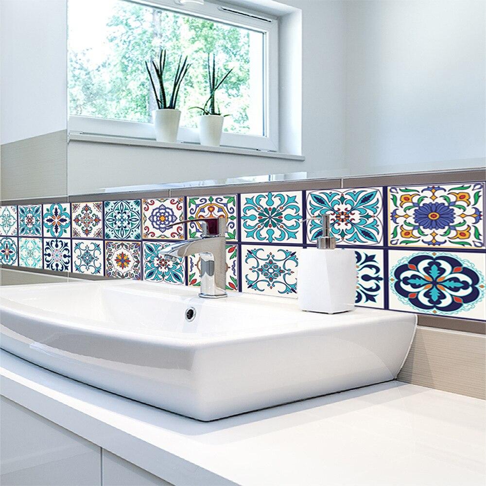 3D Arabian Style Retro Tile Floor Sticker Kitchen Bathroom Waist ...