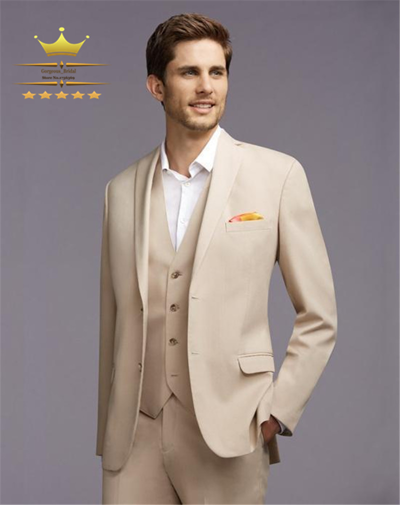 Champagne Mens Tuxedos Gold Custom Made Wedding Suits For