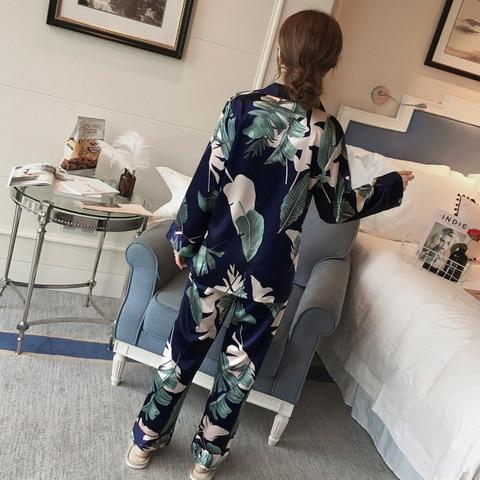 Big Size Pyjamas Set M-5XL Women Silk Satin Pajamas Long Sleeve Sleepwear Pijama Pajamas Suit Sleep Lounge Set Floral Loungewear Islamabad