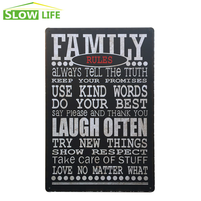 Family Rules Metal Tin Sign Family Housel Wall Decor Metal Sign Vintage Home Decor Metal Plaque Retro Painting Art Poster