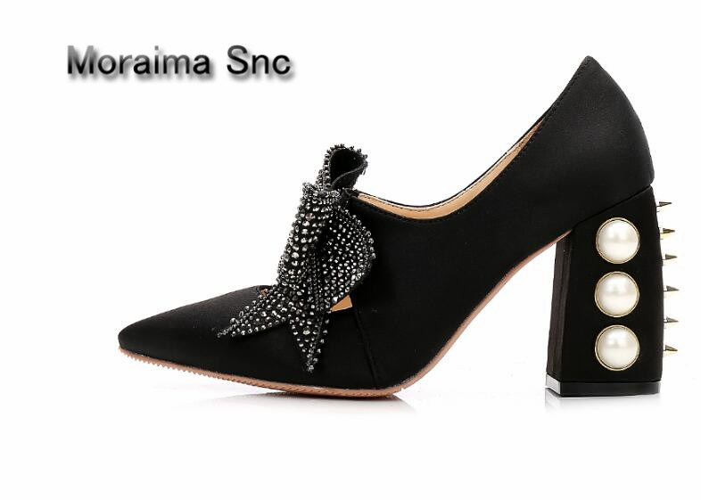 Moraima Snc Brand crystal butterfly-knot Mary janes shoes rivet square high heels pumps women sexy pointed toe stiletto shoes apoepo brand mary janes shoes pointed toe butterfly knot decor flats shoes women red pink sweet single shoes for girls newest
