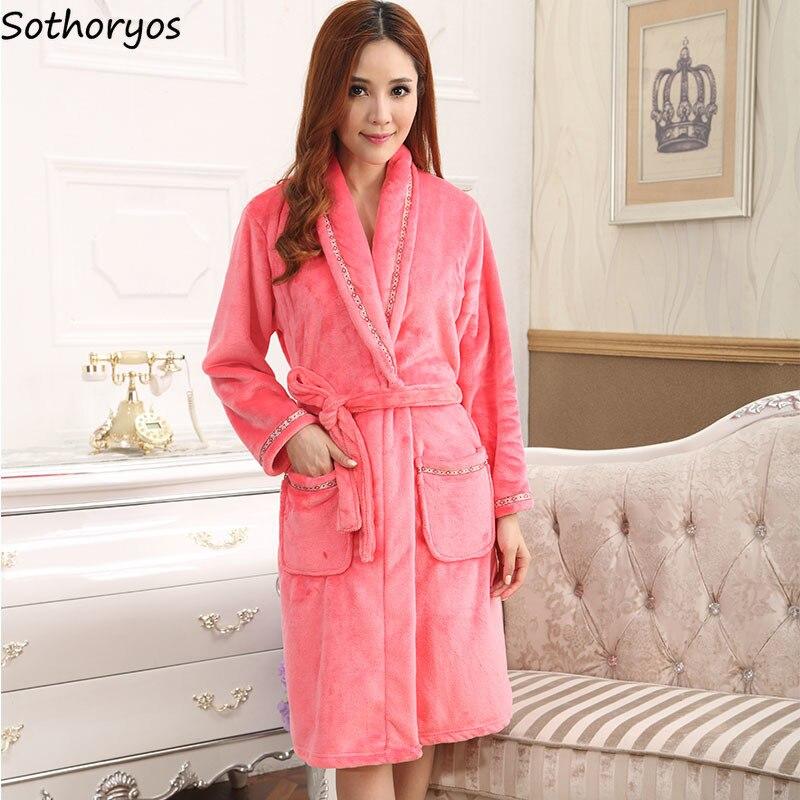 Robes Women Solid Warm Thicker Bath Robe Korean Long Soft Loose Womens Bridesmaid Robes Simple Daily Lady Sleepwear Trendy Robe