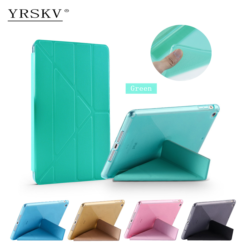 Case for iPad Air 2 (2014) YRSKV Multi-fold PU leather cover + TPU Smart Sleep Wake Tablet Case For Apple iPad : A1566`A1567 ctrinews flip case for ipad air 2 smart stand pu leather case for ipad air 2 tablet protective case wake up sleep cover coque