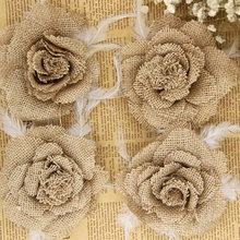 11cm Artificia Handmade Linen Feather Flowers Diameter Applicable to Apparel Garments Home Decorative Textiles Wedding Party(China)