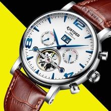 Kinyued Mechanische Horloges Mannen Nieuwe Mode Top Lederen Band Waterdicht Datum Automatische Hand Horloge Skeleton Tourbillon Horloge