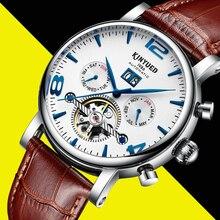 Kinyued ساعات آلية الرجال جديد قمة الموضة حلقة من جلد مقاوم للماء تاريخ التلقائي ساعة يد الهيكل العظمي توربيون ساعة اليد