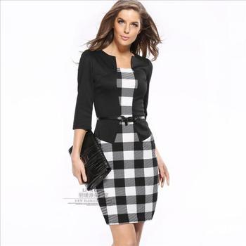 e8f07a2cc Las mujeres vestido de verano 2019 vestido elegante o-Cuello Vestidos mover  trabajo de oficina vestido Bodycon 7 De manga de las mujeres vestido de  negocios