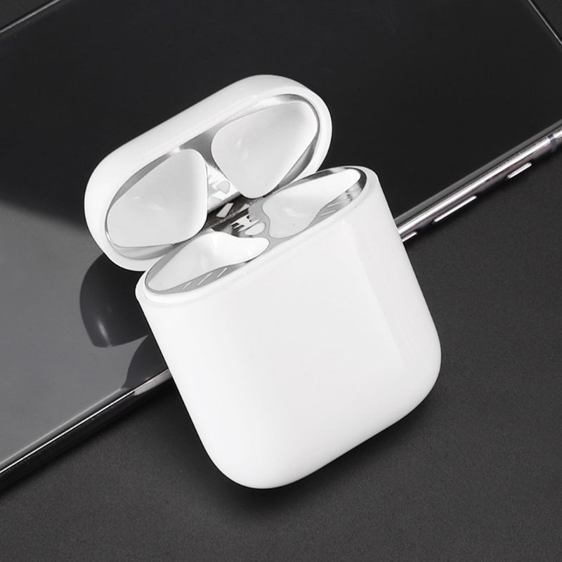 Image 5 - New Metal Dust proof Sticker Earphone Protection Ultra Thin Dust Guard Cover For Apple AirPods 1 Wireless Charge Charging Box-in Earphone Accessories from Consumer Electronics
