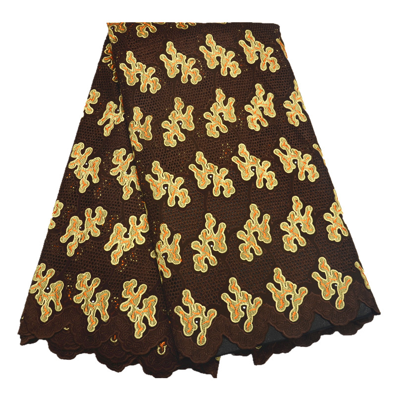 African fashion lace styles dry lace deep brown color high quality cotton lace fabric for wedding