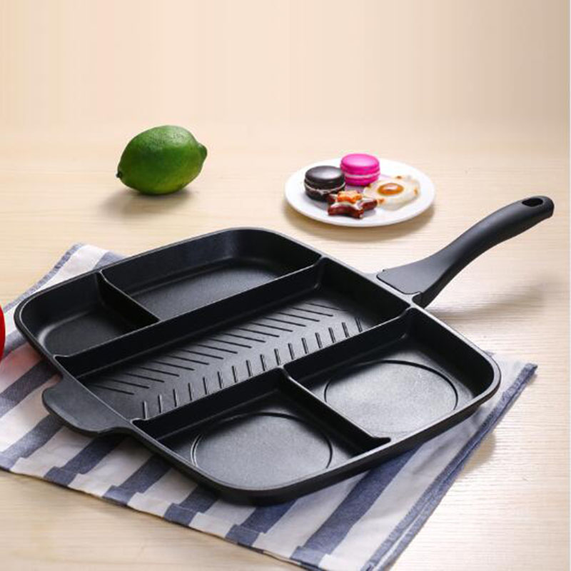 Fryer Pan Non-Stick 5 in 1 Fry Pan Divided Grill Fry Oven Meal Skillet 15 Black Kitchen cooking utensils