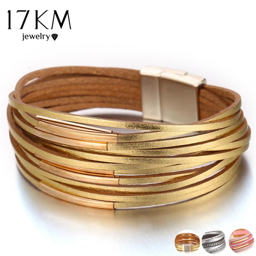 17KM New Gold Leather Wrap Bracelets For Women Red Sliver Color Multiple Layers Charm Bracelet Bangle