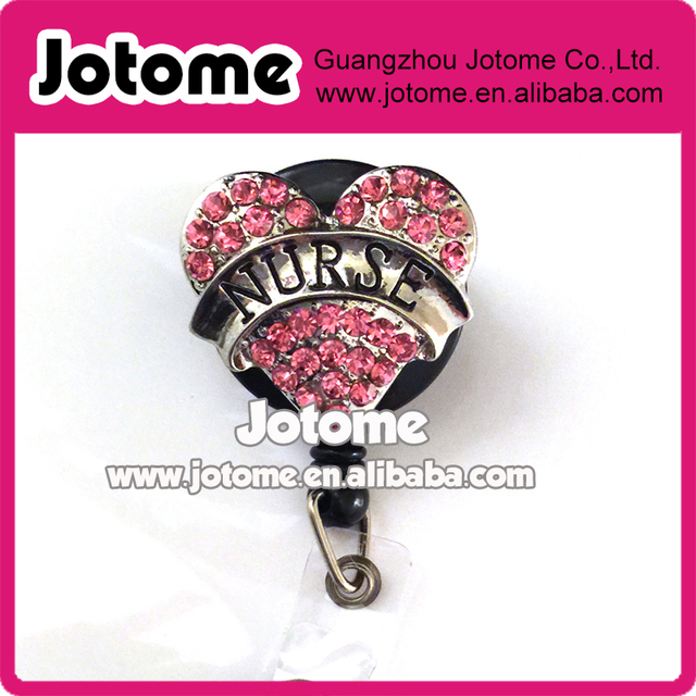 US $253 0  Retractable Badge Reel ID Badge Holder Nurse Pink Heart/ name  badge holder / Nurse Heart badge clip-in Brooches from Jewelry &  Accessories