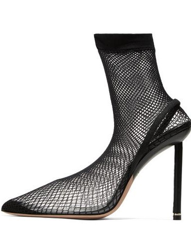 New 2018 Brand Women Sexy Black Pointed Toe Stiletto Heel Slip On Elastic Fishnet Socks Short/Over The Knee Boots Plus цена
