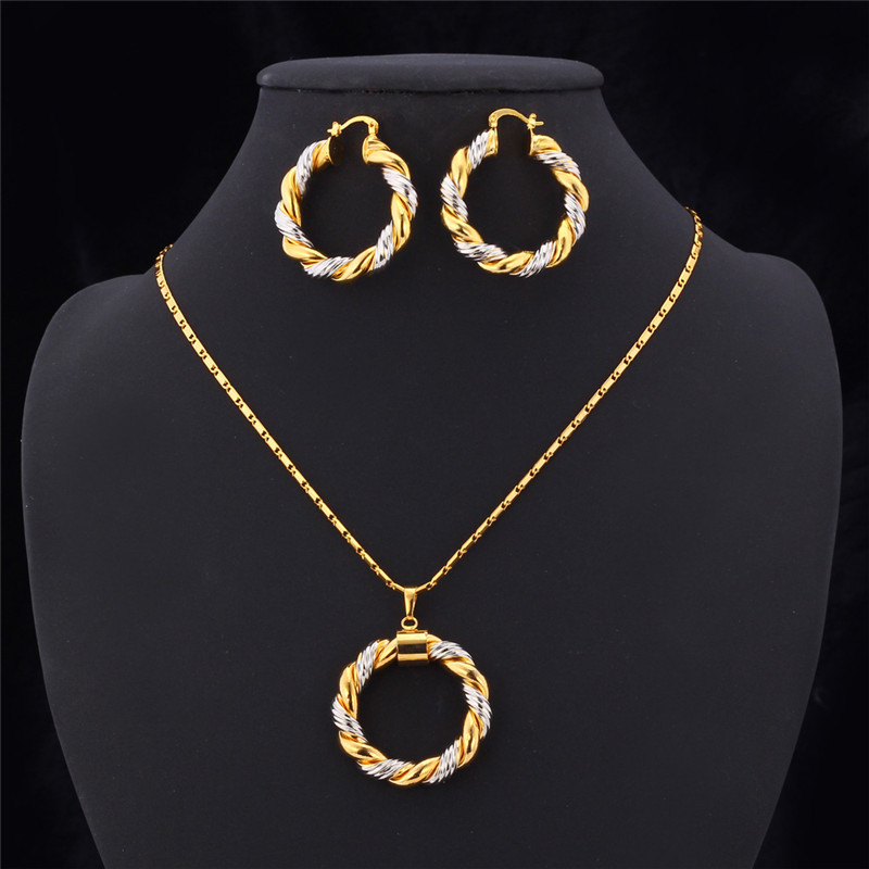 Starlord Two Tone Gold Color Chain Round Jewelry Set Fashion Unique Hoop Earrings Pendant Necklace For Women Gift Pe683 In Sets From