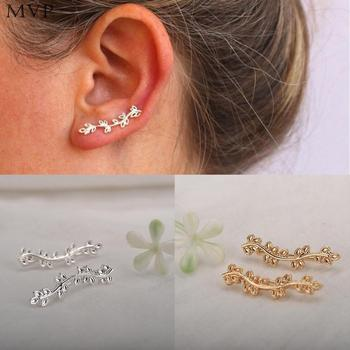 Leaf Leaf Leaves Stud Earrings Climbers Olive Women Plated Ear Clip for Women золотые серьги по уху