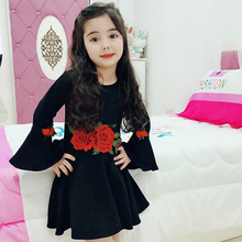 Kids Girl Dress European and American Style Print Frocks Teenage Girls Summer Clothes Girls Little Girl Children Clothes Dress red white blue striped little teenage girl dress 2016 summer style fashion sleeveless girls clothes kids sundress girls dresses