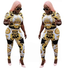 Gorgeous Gold Printed Sexy 2 Piece Set For Women O Neck Short T Shirts And Long