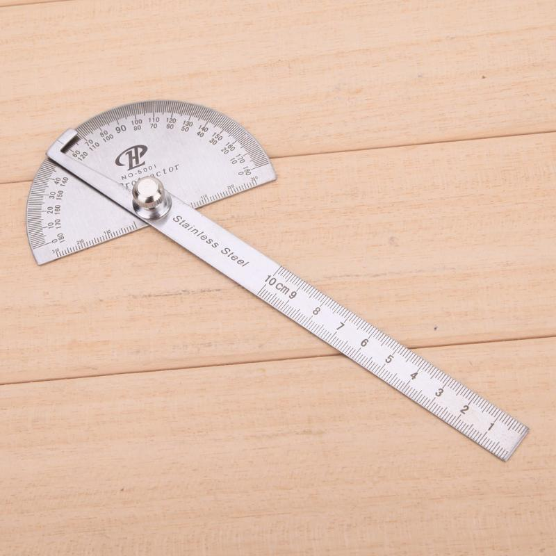 180 Degree Stainless Steel Protractor Angle Finder Rotary Measuring Ruler Measuring Ruler Woodworking Tools For Measuring Angles