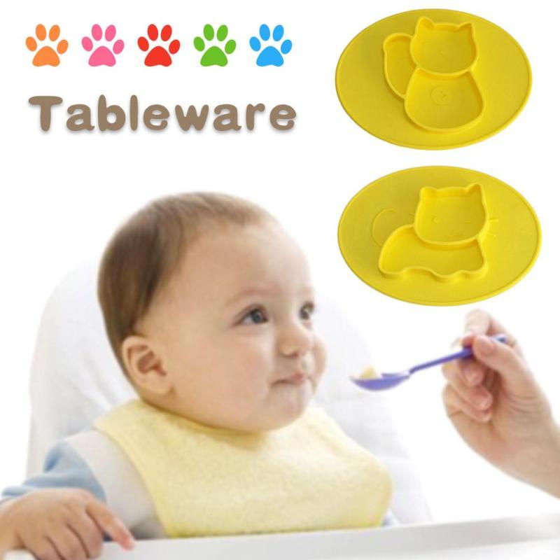 Детские блюда Чаши плиты Лоток для лоток Training Посуда детская посуда для кормления Безопасной Силиконовые Дети пластину подарок R4