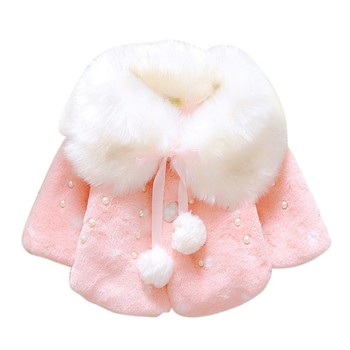 Baby Girls Wool Fur Coats Winter Warm Shawl Long Sleeve Jacket Kids Girls Clothes Outwear