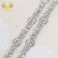 (1 Yards) Wedding Rhinestones Crystal Trim Yard Rose Gold Claw Shiny Rhinestone Appliques Trimming For Dress Bridal Motif Yards