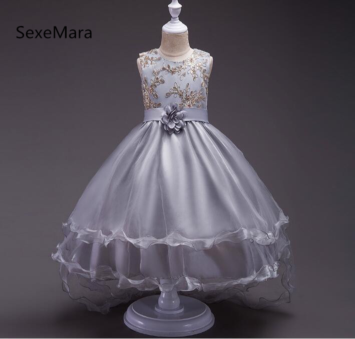 Fashion Flower Girls Dress 4 colors to Choose Wedding Pageant New Princess Party Dresses Children Clothes Size 2-14 muqgew new fashion 2018 children party