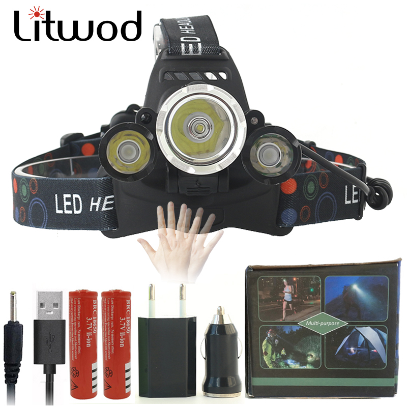 Z20 Sensor led headlight headlamp XM-L T6 20000LM head flashlight torch cree led head lamp waterproof light 18650 battery