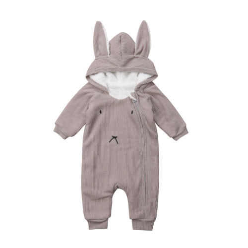 Newborn Baby Boys Girls Rabbit Ears Hooded Long Sleeve Romper Jumpsuit Outfits Set