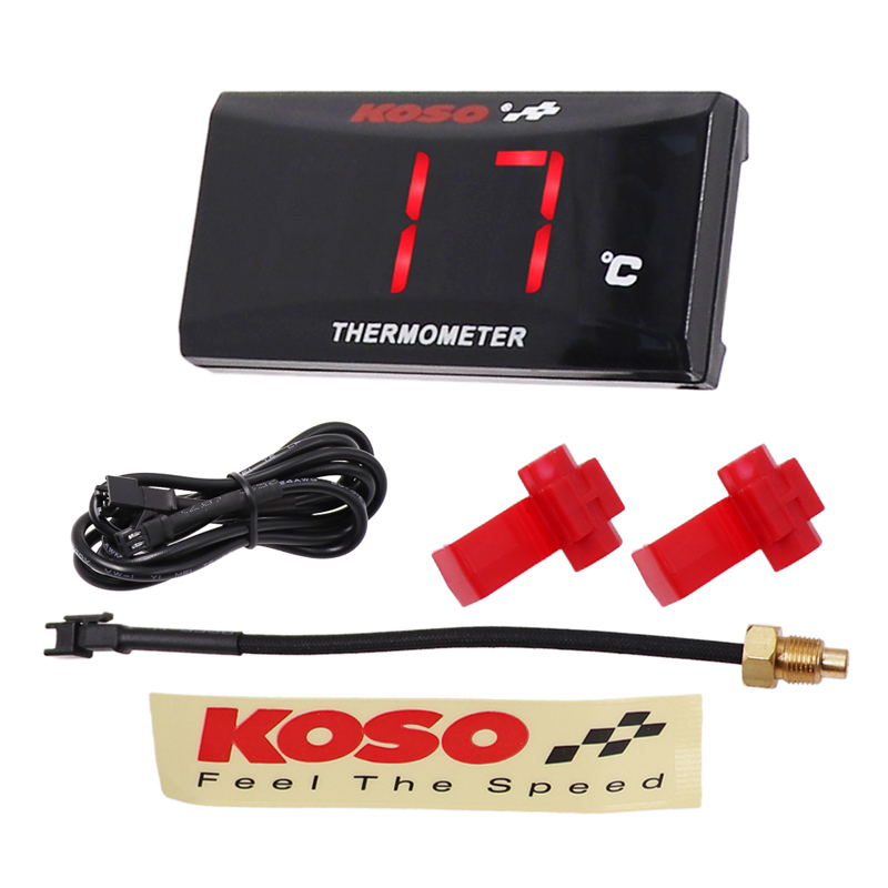 KOSO Water Thermometer LED Display Temperature Gauge RED Light