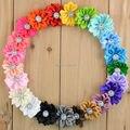 La gasa de la tela Sun Flower sin Clip para bebé pelo de las muchachas accesorios Hand Craft DIY 3.7 cm 22 colores 30 unids/lote