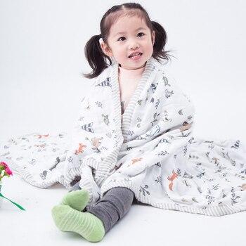 Детское Пеленальное трехслойное 70% бамбуковое 30% хлопковое газовое одеяло для новорожденных с широкими краями для детей 120x120 см