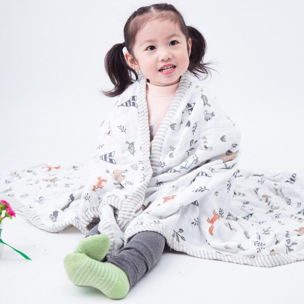 Baby Swaddle Three Layers 70% Bamboo 30% Cotton Gauze Newborn Broad Edge Baby Child Dream Blanket 120x120cm