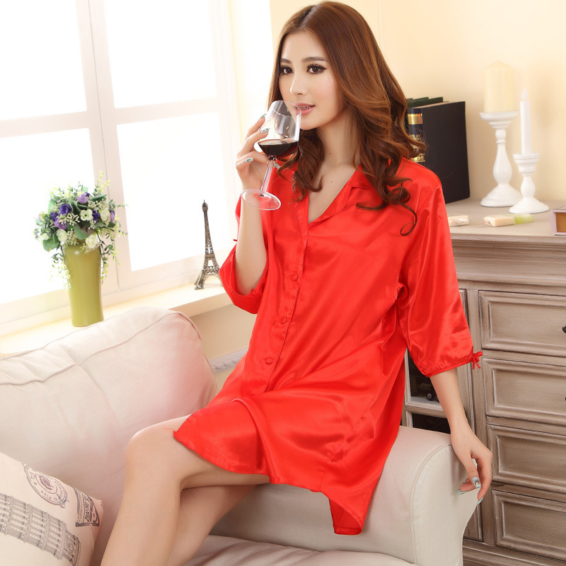 2017 Hot Sale Red Women Faux Silk Robe Solid Color Nightgown Sexy Sleepshirt Summer Lounge Bath Gown Lingerie One Size A161