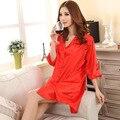 2017 Venda Quente Mulheres Vermelhas Robe de Seda Faux Cor Sólida camisola Sexy Salão Sleepshirt Verão Banho Vestido Lingerie Um Tamanho A161