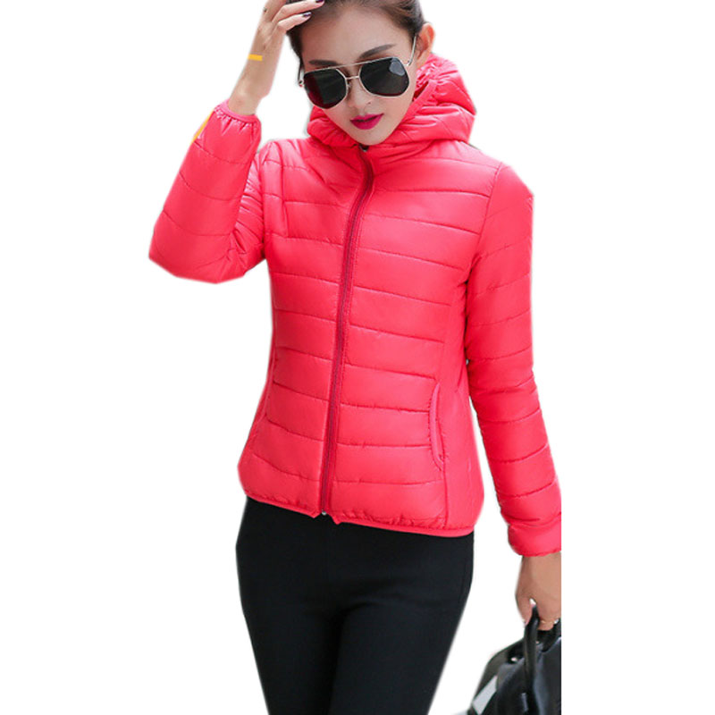 Brand Women's Warm Winter Coat Casual Jacket Women   Parkas   Ladies Fashion Streetwear Blue Black Outerwear   Parka   Female Tops red