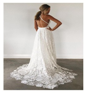 Image 5 - הגעה חדשה חוף שמלות כלה 2020 לבן שיפון בודהה boho חתונה שמלת Casamento תחרה חתונה שמלות vestido novia