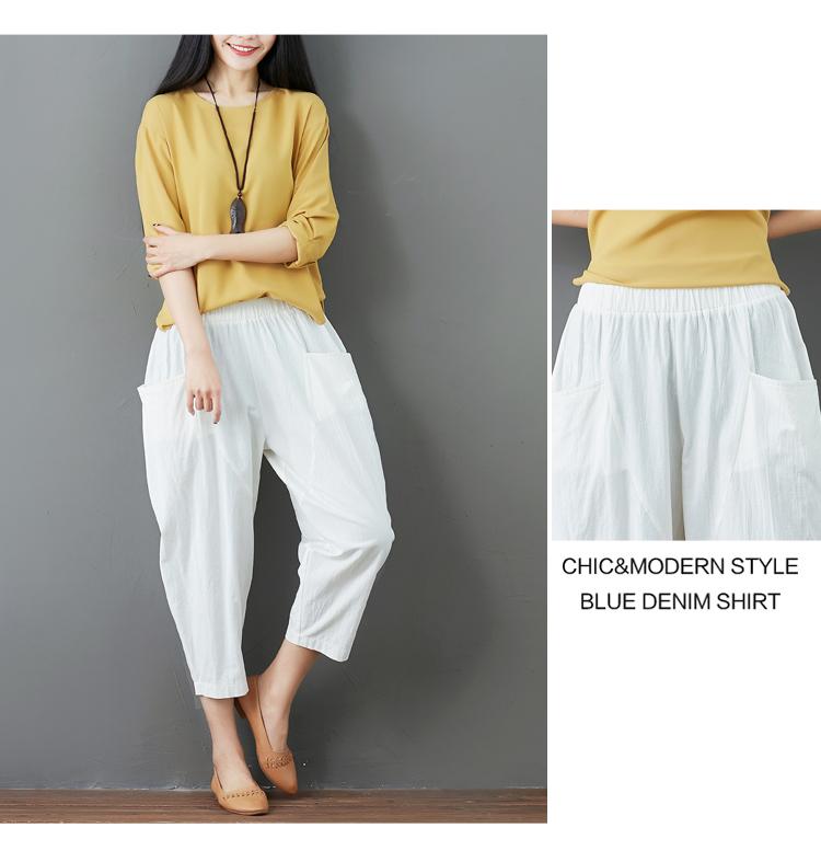 Summer Elastic Waist Cotton Linen Pocket Harem Pant Vintage Loose Mori Girl Oversized Home Tracksuit Plus Size Trouser Workout 46