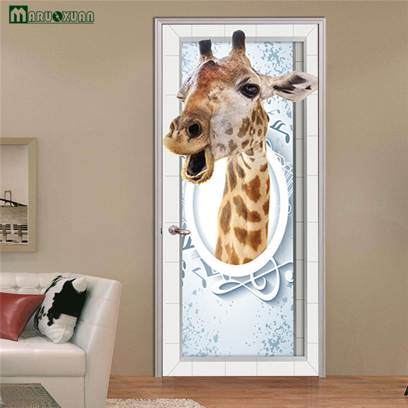 Maruoxuan 3d Animal Giraffe Door Stickers Bedroom Living Room Bathroom Door Stickers Decoration Waterproof Wall Stickers