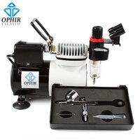 OPHIR Airbrush Compresseur (110 V/220 V) avec Ventilateur et 0.3mm à Double Action Airbrush Kit pour la Décoration De Gâteaux Modèle Paint_AC114 + AC004