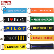 New Remove Before Flight Key Ring Safety Tag Luggage Label Fashion Embroidery OEM Chain Motorcycles Fobs Aviation Gifts